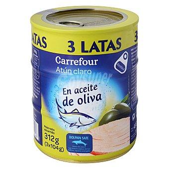 Carrefour Atún claro en aceite de oliva Pack de 3x104 g
