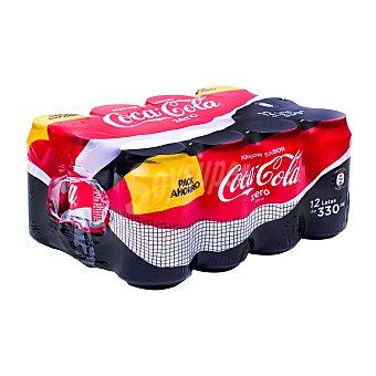 Coca-Cola Zero Refresco de cola zero azúcar Pack 12 latas de 33 cl
