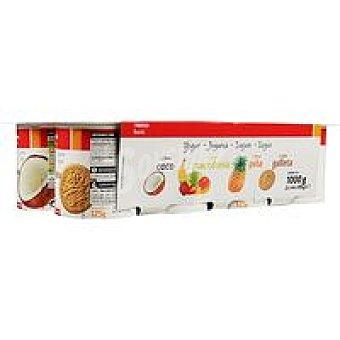 Eroski Basic Yogur de coco-macedonia-piña-galleta Pack 8x125 g