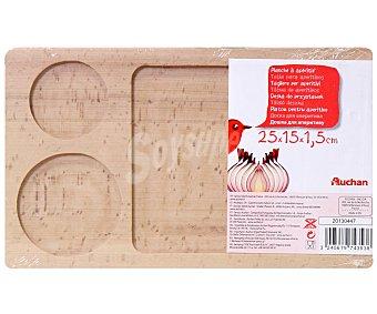 Auchan Tabla de madera para aperitivos 25x15x1,5 centímetros 1 Unidad