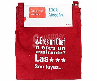 Auchan Delantal estampado de algodón, color rojo, 75x85 centímetros 1 Unidad