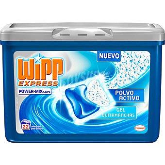 WIPP EXPRESS Power-Mix Caps detergente máquina gel quitamanchas polvo activo envase 22 cápsulas Envase 22 c