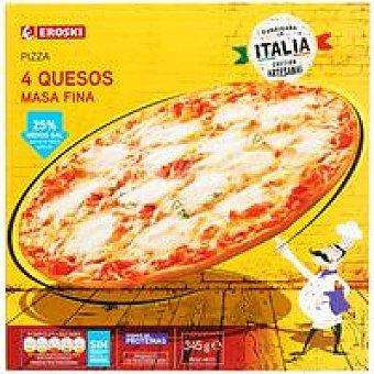 Eroski Pizza Premium 4 quesos Caja 350 g