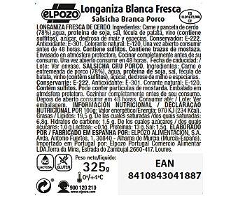 ElPozo Longaniza fresca blanca, con alto contenido en proteínas y sin gluten y sin lactosa 325 gr