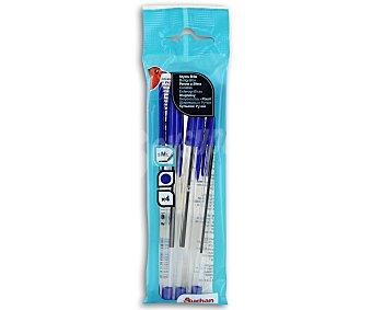 Auchan Lote de 4 bolígrafos con tapa, de punta media y tinta azul 1 unidad