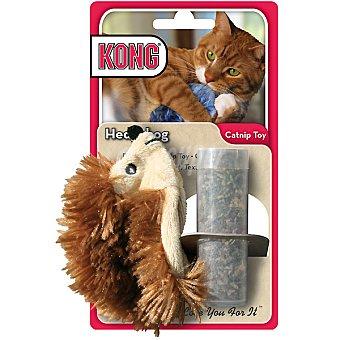 KONG Peluche para gato con forma de erizo medida 16 cm incluye bote con catnip para rellenar 1 unidad