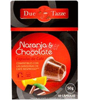 Due tazze Café de naranja y chocolate en cápsula 10 ud