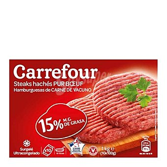 Carrefour Hamburguesa vacuno Pack de 10x100 gramos