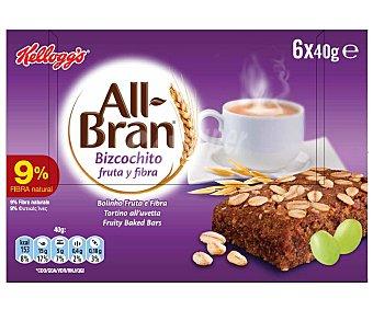 Kellogg's All bran All bran bizcochito fruta y fibra Pack de 6x40 gr