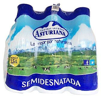 Central Lechera Asturiana Leche semidesnatada UHT (tapón azul) botella pack 6 x 1,5 l - 9 l