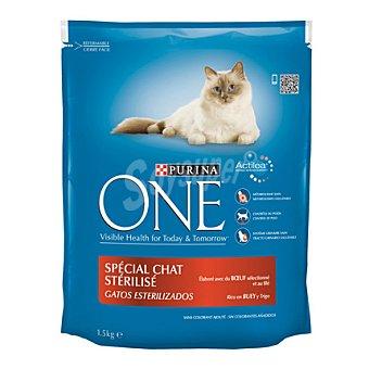 One Purina Comida para Gatos ESTERILIZADOS Purina con Buey  1,5 kg