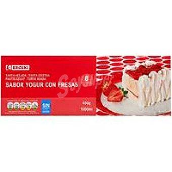 Eroski Tarta de yogur con fresas Caja 1 litro
