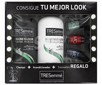 TRESemmé Pack Navidad regenerador puntas: Champú 675ml + Acondicionador 675ml + Laca uñas 1 Unidad