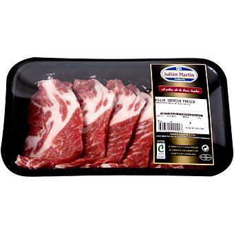 JULIAN MARTIN Aguja fresca de cerdo ibérico en filetes bandeja peso aproximado 300 g