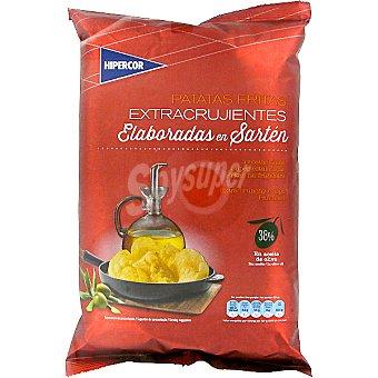 Hipercor Patatas fritas extracrujientes elabotadas en sartén con 38% en aceite de oliva Bolsa de 150 g