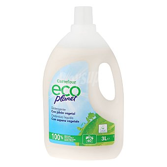 Carrefour Eco Planet Detergente lavadora 40 lavados, botella de 3 L.