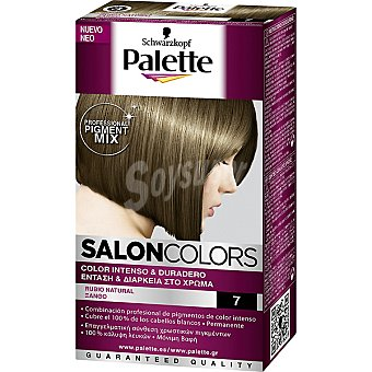 Schwarzkopf Palette Tinte nº 7 Rubio Natural color intenso y duradero Salon Colors Caja 1 unidad
