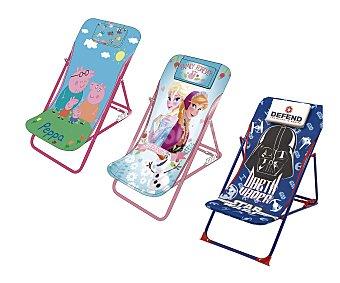 ARDITEX Tumbona multiposición plegable infántil, fabricada en tubo de acero, con asiento y respaldo de PVC con estampados infantiles 1 unidad
