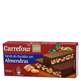Carrefour Turrón de chocolate con almendras, avellanas y leche 260 g