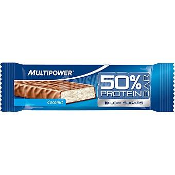 MULTIPOWER barrita 50% proteína baja en azúcares sabor coco  envase 50 g