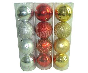 Actuel Tubo con 4 bolas de 12 centímetros de plástico de colores plata, oro, rojo o blanco, con acabados brillantes o metalizados actuel. Este producto dispone de distintos modelos o colores. Se venden por separado SE surtirán según existencias 4u