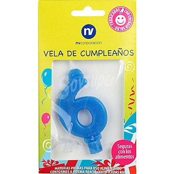 NV. Vela de cumpleaños color azul nº 6 blister 1 unidad
