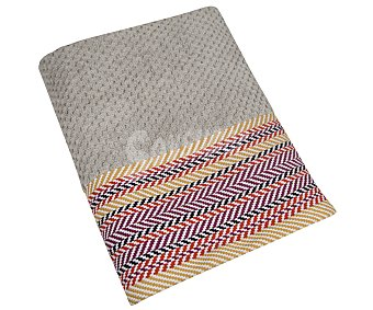 Actuel Toalla de ducha 100% algodón, 550g/m² de densidad, color gris con cenefa jacquard multicolor ACTUEL. 550g