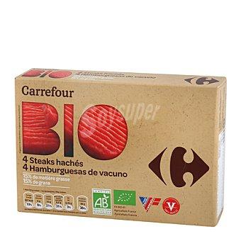 Carrefour Bio Hamburguesas vacuno 15% mg Pack de 4x100 g