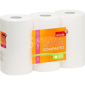 Aliada Rollos de cocina blanco compacto 2 capas muy absorbente  Paquete 3 rollos