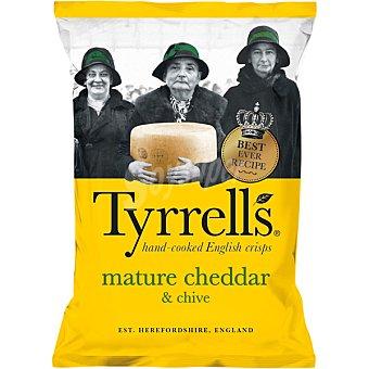 Tyrrells Patatas fritas artesanas inglesas con queso cheddar y polvo de cebolla bolsa 150 g bolsa 150 g