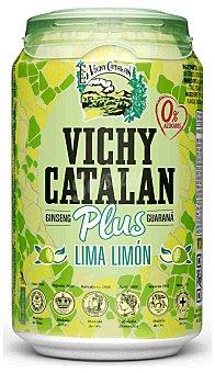 Vichy Catalán Agua mineral natural con Ginseng y Guaraná sabor lima-limón 33 cl