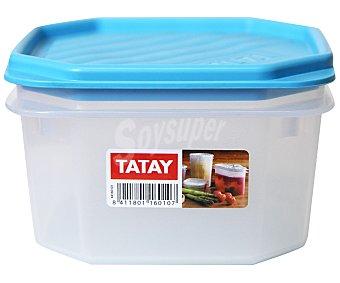 TATAY Tupper cuadrado de plástico apto para lavavajillas y microondas, 0.6 litros 1 Unidad