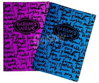 OCEAN´S WAVE Cuaderno A4 con cuadrícula de 4x4 mm, 48 hojas de ocean´s wave 90 g