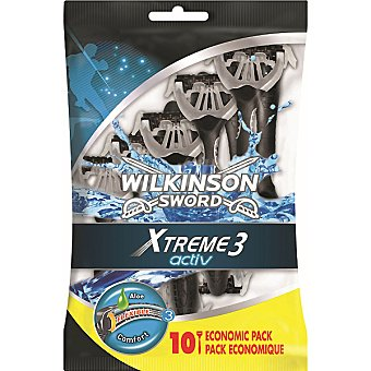 Wilkinson Xtreme 3 maquinilla de afeitar desechable Activ Comfort bolsa 10 unidades pack ahorro Bolsa 10 unidades