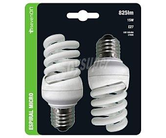 SEVENON Bombillas de bajo consumo espiral micro 15 Watios, casquillos E27 (gruesos) y luz cálida 2 unidades