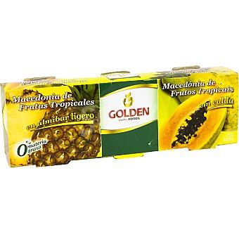 Golden Macedonia de frutas tropicales en almíbar ligero 0% materia grasa pack 3 latas 137 g neto escurrido Pack 3 latas 137 g