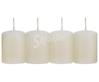 AUCHAN Velas cilíndricas perfumadas de 55x40 milímetros y con olor a suave vainilla Pack de 4 Unidades