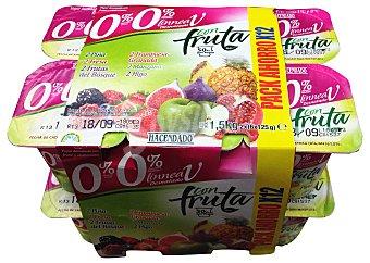 Hacendado Yogur desnatado trozos 2 piña, 2 manzana, 2 f.bosque, 2 higos, 2 frambuesa-granada, 2 fresa Pack 12 x 125 g - 1,5 kg
