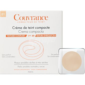 Avène Couvrance Crema compacta SPF30 textura enriquecida sin perfume polvera para pieles sensibles normales y secas color Porcelana 01 9,5 g