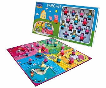 PEPPA PIG Juego de Mesa Parchís de Peppa Pig, Incluye 16 Figuras y 4 Dados, De 2 a 4 Jugadores 1 Unidad
