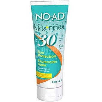 NO-AD Protector solar Kids niños FP-30 hipoalergenico resistente al agua y al sudor tubo 100 ml