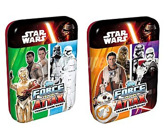 Star Wars Disney Mini lata Star Wars VII Force Attax con 25 cartas coleccionables Star Wars VII Mini lata