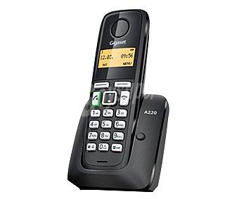 GIGASET A220 Teléfono inalámbrico Dect, Negro, identificador de llamadas, manos libres, listado de ultimas 10 llamadas recibidas, agenda de 80 contactos, pantalla iluminada,