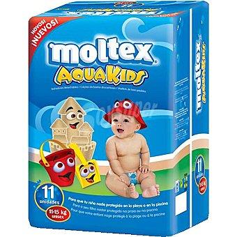 Moltex Pañal bañador Aqua Kids desechable 11 a 15 kg  Paquete 11 unidades