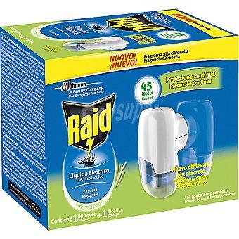 Raid Insecticida volador eléctrico líquido mosquitos fragancia Citronella 45 noches aparato + recambio