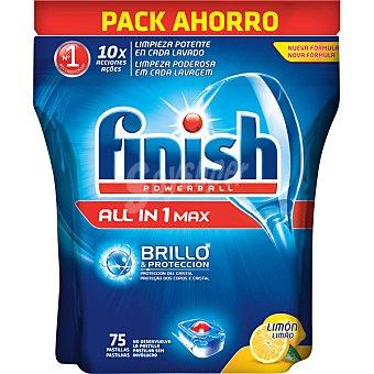 Finish Detergente lavavajillas Power Ball todo en 1 Max limón bolsa 75 pastillas Bolsa 75 pastillas