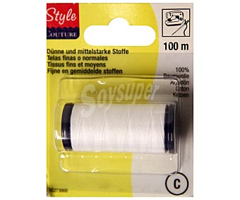 STYLE Hilo de algodón color blanco, 100 metros 1 Unidad