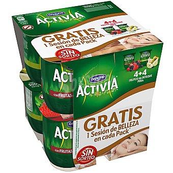 Activia Danone Yogur con frutas del bosque + yogur con pera pack 4 unidades 125 g Pack 4 unidades