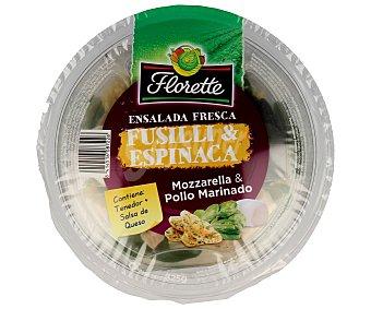 Florette Ensalada Completa Ensalada de pasta tipo fusilli con espinacas, mozzarella y pollo marinado (contiene tenedor más salsa de queso) 325 g