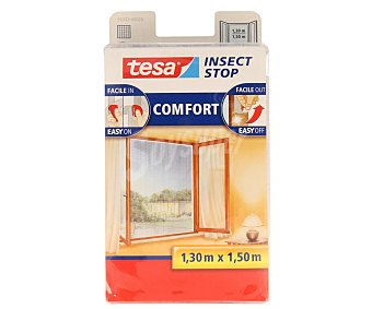 Tesa Mosquitera para ventanas de 130x150 centímetros máximo, con fijación mediante cinta de velcro de alta calidad que no deja residuos al quitarla . Incluye cortador y cepillo aplicador 1 unidad